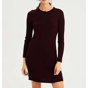 AE Burgundy Lettuce Collar Sweater Dress